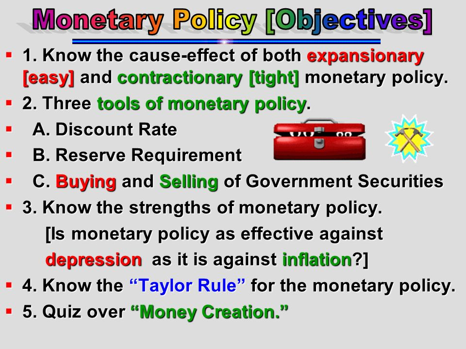 Monetary Policy [Objectives]